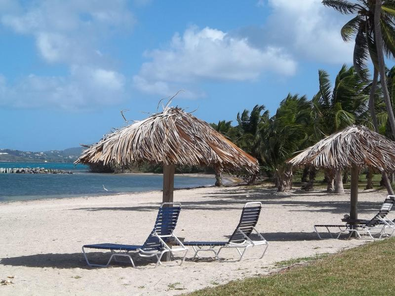 Tiki huts on our quiet beach - View sand and sea from our newly remodeled condo - Christiansted - rentals