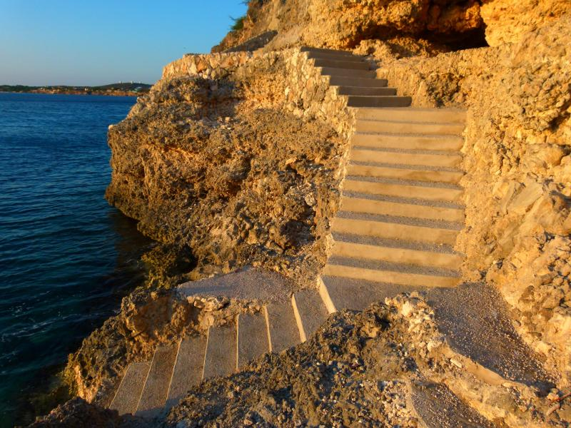 carved coral steps to the sea - Dive at Your Doorstep! 1 bdrm ocean front villa - Westpunt - rentals