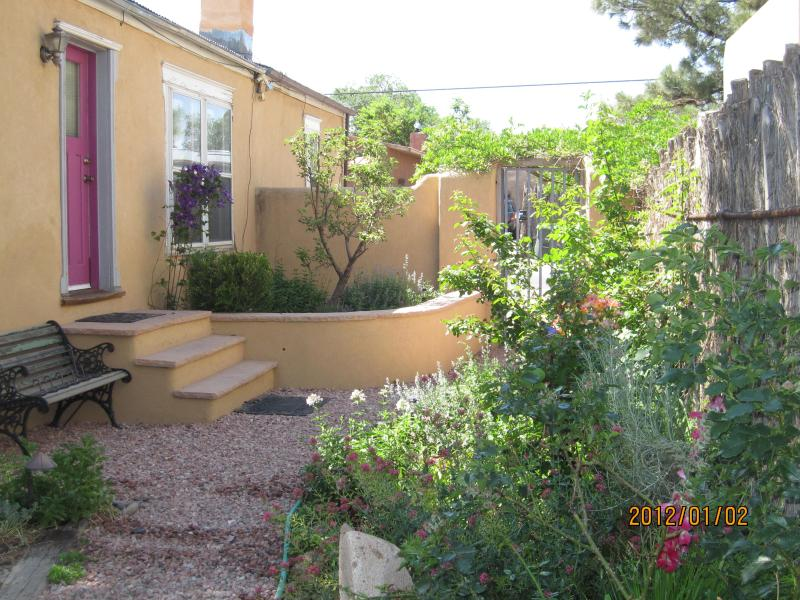 Garden and front door - Charming Condo near Plaza with Garden & Mt. View! - Santa Fe - rentals