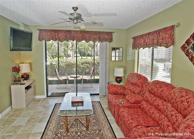 Sit on our comfy sofas and enjoy watching HDTV! - Ocean Village K12, Ground Floor, Screened Lanai, HDTV - Saint Augustine - rentals