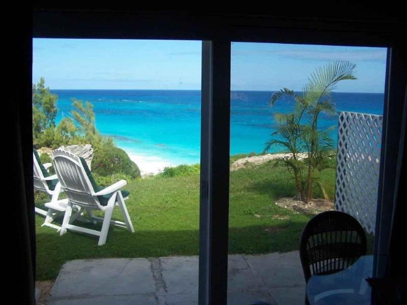 Inside Sand Pebble looking out - Bermuda Beach Front Studio Apt. at Marley Beach - Warwick - rentals