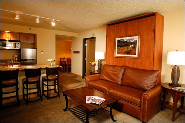 Living Room Includes a Queen Murphy Bed and Opens up to the Kitchenette (Representative Unit) - Warm and Welcoming Condo - Dogs Allowed (1117) - Crested Butte - rentals