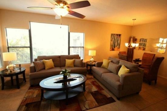 Living room and dining - Two Bedroom Upstairs Condo at Canyon View in Ventana Canyon - Tucson - rentals