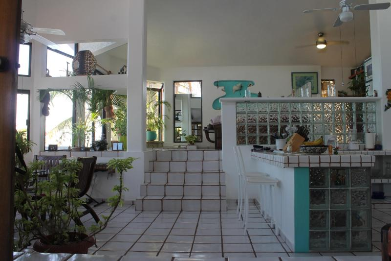 view from liv room to bed room past kitchen - Beach House,on the water - Tulum - rentals