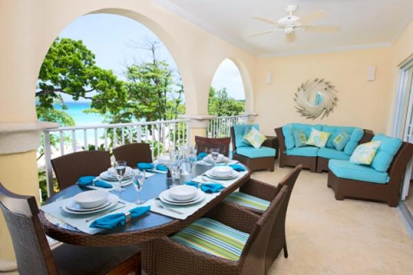 Cool Caribbean Colours Inspire Outdoor Dining & living  - Sapphire Beach 211: Contemporary Beachfront Condos - Dover - rentals