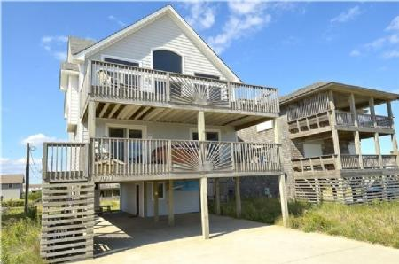 Exterior Front - Orion's Landing - Semi-Oceanfront with Hot Tub & Great Ocean Views - Kill Devil Hills - rentals