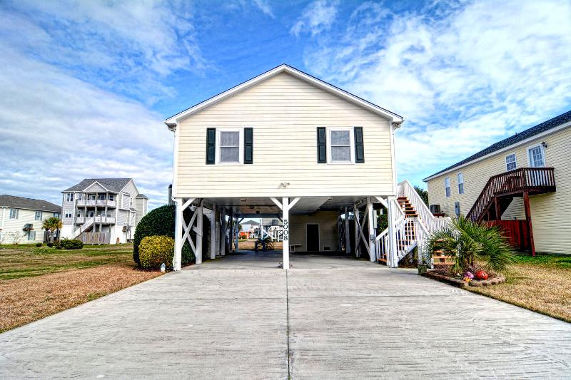 Front Exterior View, One Block from the Beach! - 4 BR Home w/ Elevator-Pet Friendly-Topsail Island - Surf City - rentals