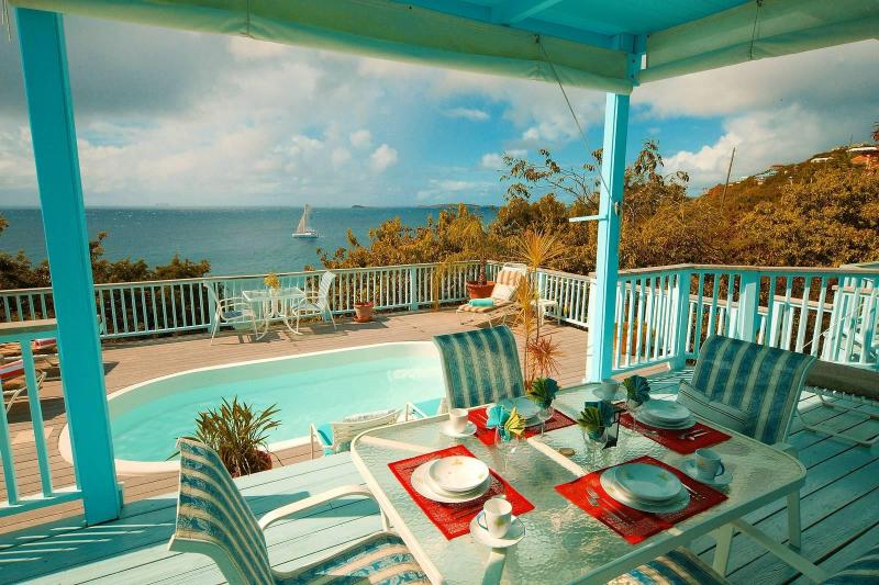 Enjoy the iridescent greens and blues of the Caribbean Sea from every area of this light and airy home. - French Cap - St John Villa - Saint John - rentals