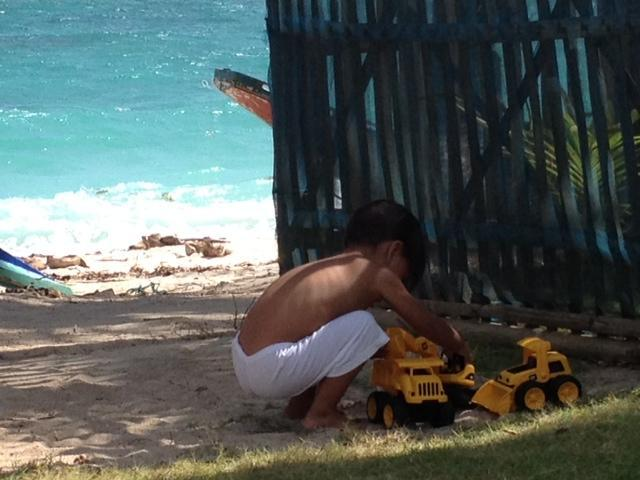 my son playing with a toy truck at entrance - SKY's BORACAY BEACH HOUSE - Boracay - rentals