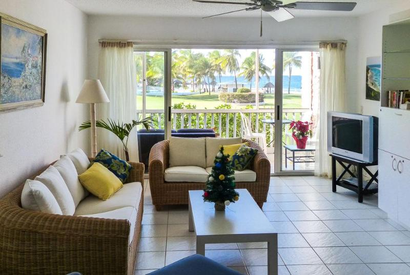 Living room, pool, ocean - Stellar Retreat, Beachfront Condo, St. Croix VI - Saint Croix - rentals
