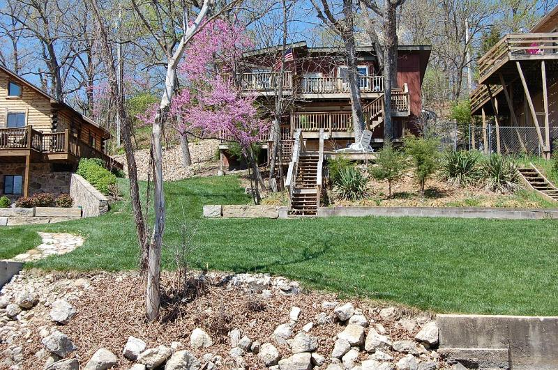 View from Lake of Treehouse and Shoreline - 20% Off Boat Rental @ TREE HOUSE Lakefront 1MM! - Lake Ozark - rentals