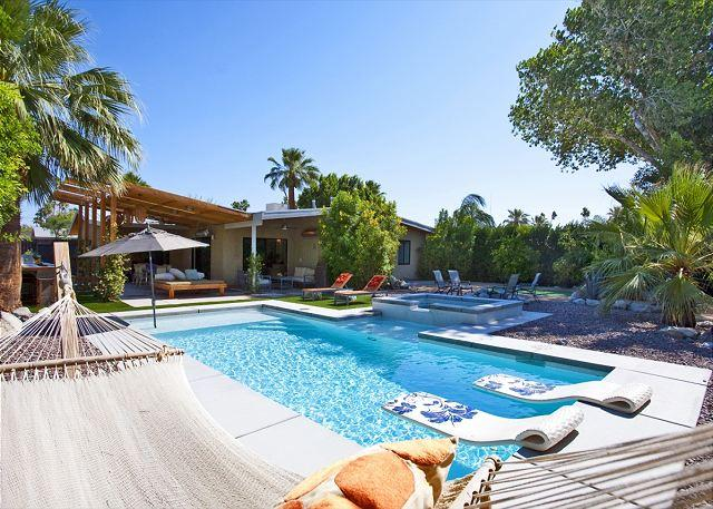 """Hammock and Pool - Atomic Ranch Heaven ~ Nominated for """"BEST OF OUTDOOR SPACES"""" - Palm Springs - rentals"""