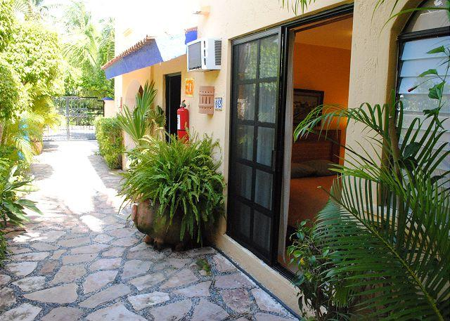 A2#12 entrance - Economical hotel style room with queen bed & bath w shower - Puerto Morelos - rentals