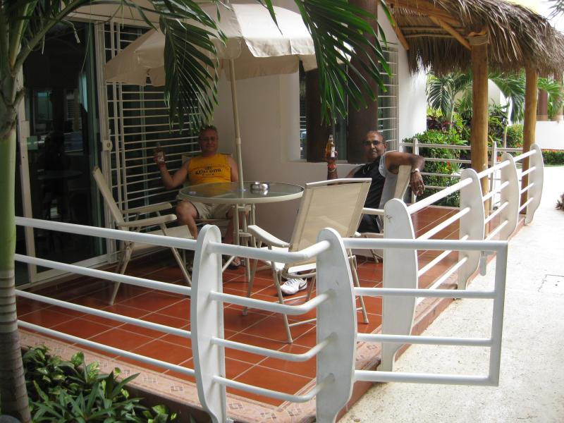 FURNISHED PATIO OVER LOOKING POOL AND YES 3-4 STEPS TO THE WATER - Bucerias Rental,  'Mi Casa Es Su Casa' 3 BR Condo - Bucerias - rentals