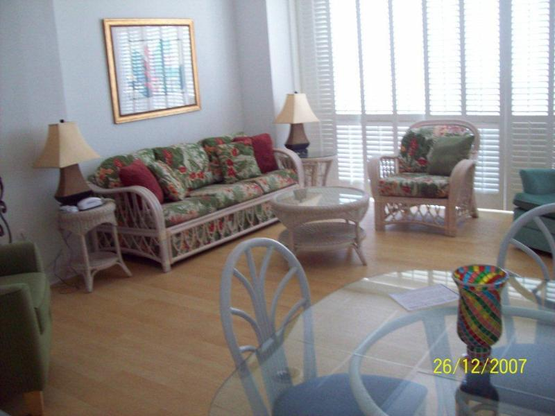 Living room/dining area looking towards boardwalk & ocean - Oceanfront Wheelchair Friendly  ADA Kitchen & Bath - Rehoboth Beach - rentals
