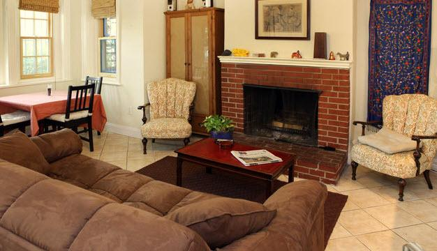 Living room with sofa and fireplace - 1br Capitol Hill apt-Eastern Market - Washington DC - rentals