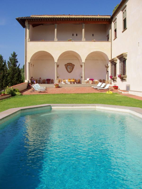Pool area and loggia - 11 bedroom villa in Tuscany, Italy - San Casciano in Val di Pesa - rentals