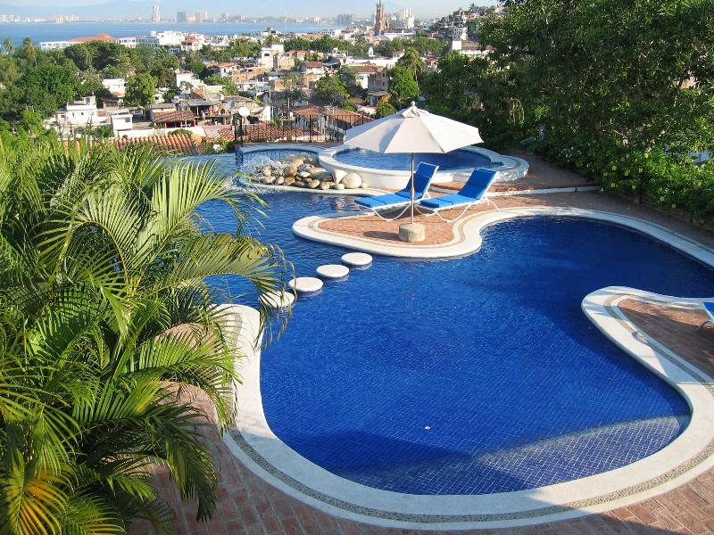 Heated zero entry infinity pool overlooking the city and bay - Tranquil Garden in the Romantic Zone - HEATED Pool - Puerto Vallarta - rentals