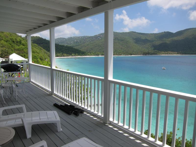 View of Magen's Bay from the deck  - BEACHFRONT 1BED/1BATH condo - sleep 4 - Magens Bay - rentals