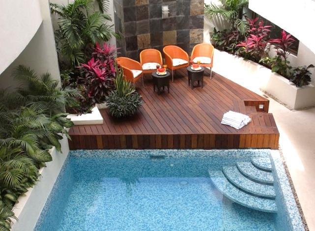 Relax and unwind at the common area swimming pool  - Penthouse for 12 on 5th Ave - Private Jacuzzi - Playa del Carmen - rentals