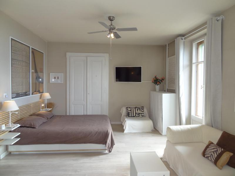 Sleeping area: queen bed, single rollaway in cabinet, chair is single, sofa is single or king opened - Montreux-Fabulous Lakeside, Views of Lake & Mtns - Montreux - rentals