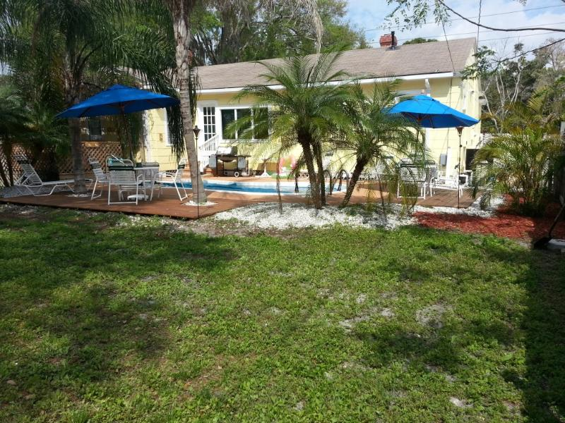 View of Pool - Tropical Landscaping - The Cottage - Pool, Hot Tub, Game Rm (sleeps 4-6) - Bradenton - rentals