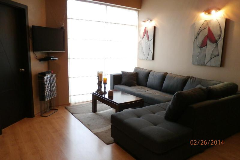 Living room area with large L-shaped sofa, TV, and DVR. - Modern Loft Apartment just 6 blocks from El Centro - Cuenca - rentals