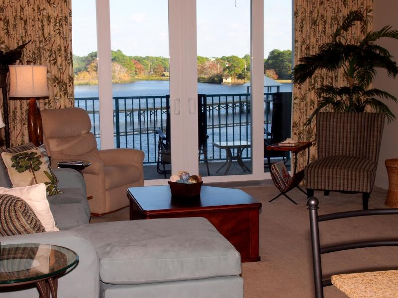 Comfortable living area with gorgeous view of the lake - Family Friendly - Laketown Wharf with Amazing View! GORGEOUS NEW 2/2 - Book Your Summer family vacation now! - Panama City Beach - rentals