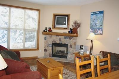 Living Area with Gas Fireplace - Crystal Forest Condos - 65 - Sun Peaks - rentals