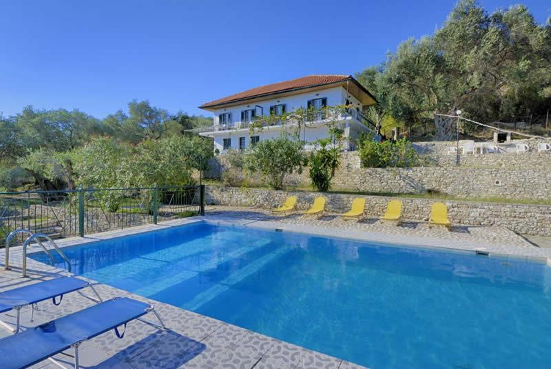 poolside overlooking the apartments and the olive groves - 2 bedroom apartments with pool in Paxos Greece - Paxos - rentals