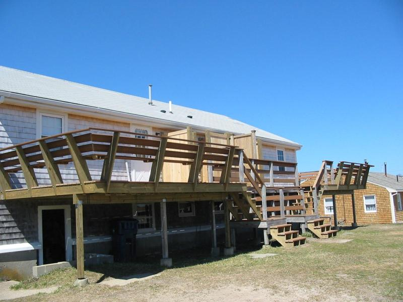 Deck with Patio Table and Full Enclosed Outside Shower - 5 Bedroom near Warm Water Semi-Private Beach - West Dennis - rentals