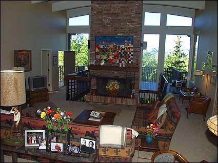 Large living room with brick fireplace and views! - Snowmass Village - Large Decks with Views (7593) - Snowmass Village - rentals