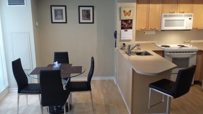 Apt.A.Living and dining area with HD LED TV - Furnished Condo in the Heart of Downtown Toronto - Toronto - rentals