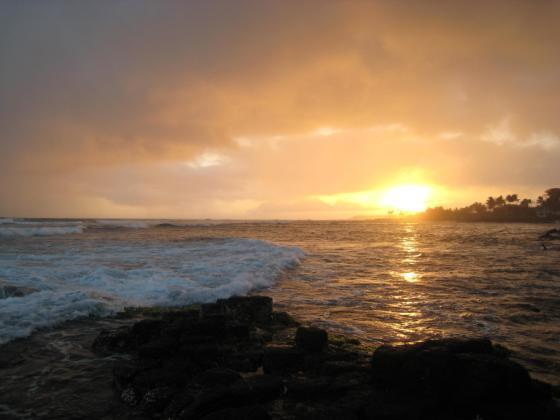SUNSET VIEW FROM LIVING AREA  - Oceanfront Poipu Condo-Location Location Location! - Koloa - rentals