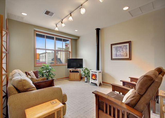 The Conservatory is equipped with a flat screen tv, propane stove & sleeper sofa. - San Juan Suites - Conservatory - San Juan Island - rentals