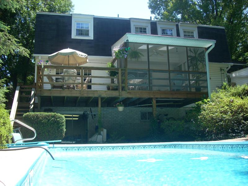 View of pool, porch from backyard - PRIVATE POOL! 4BR WOODED OASIS near METRO/ DC - Washington DC - rentals