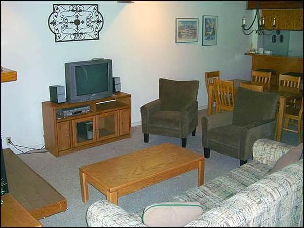 Living Room Features a Gas Fireplace, TV, and Sofa Sleeper - Great Mountain Edge Condo - Perfect for a Small Family (1304) - Crested Butte - rentals