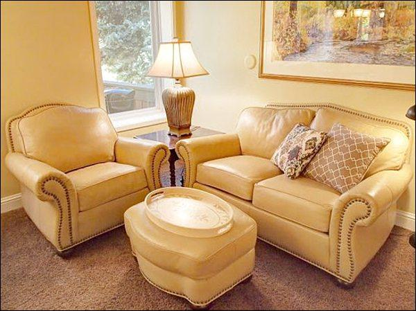Beautiful Decor and Leather Furnishings in the Living Area - Beautiful, European Style Studio - Creek & Golf Course Views (1214) - Ketchum - rentals