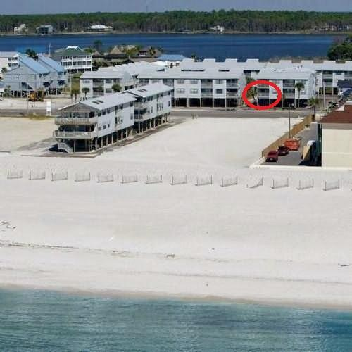 property photo- red circle is our balcony - Fall Weekend Special- 3 nights- 350 total inc tax - Gulf Shores - rentals