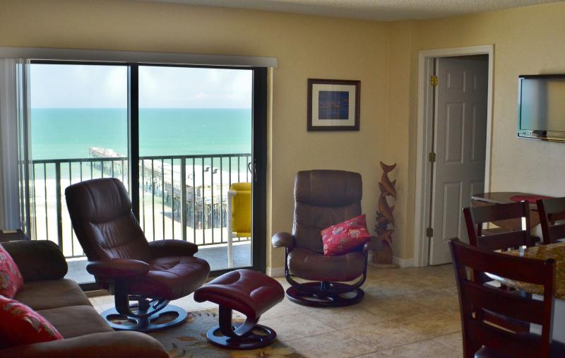 Open Living/Dining/Kitchen with fantastic ocean views - Sunglow Resort 702, 2 Bed/2 Bath Direct Oceanfront - Daytona Beach Shores - rentals