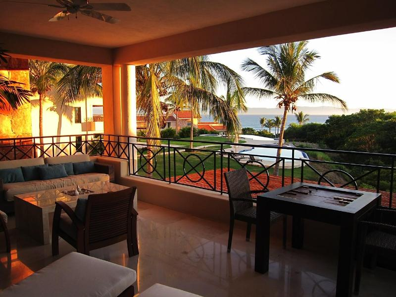 Beautiful balcony with ocean views and lots of seating - Luxury Beach Condo, Gated Punta Mita, Golf, Surf - Punta de Mita - rentals