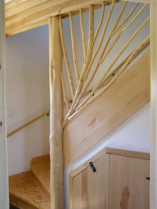 Clyde's hand-made birch branch stair railing at Four Ladies Cottage. - The Four Ladies Beach Cottage S. Shore Nova Scotia - Liverpool - rentals