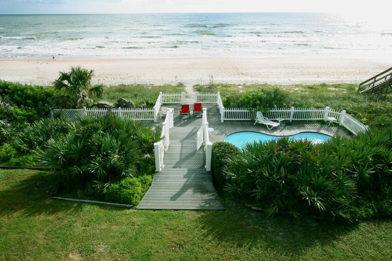 Our backyard, pool, lower decks - Ocean Shore Beach House - Ormond Beach - rentals