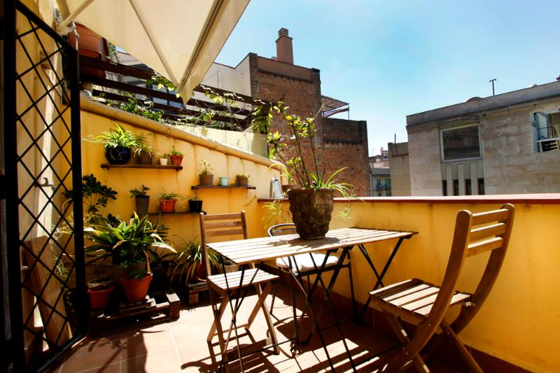 Private furnished terrace  - Family 3 bedr. apartm.next to the Ramblas - Barcelona - rentals
