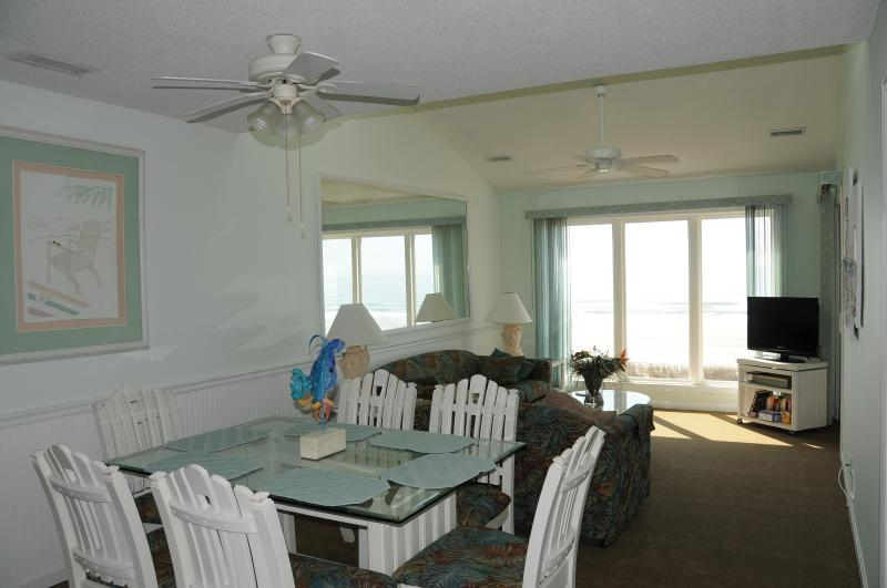 Dining area looking toward living room - Dir. Ocean Front 3 bedroom (walk to Main St) - North Myrtle Beach - rentals