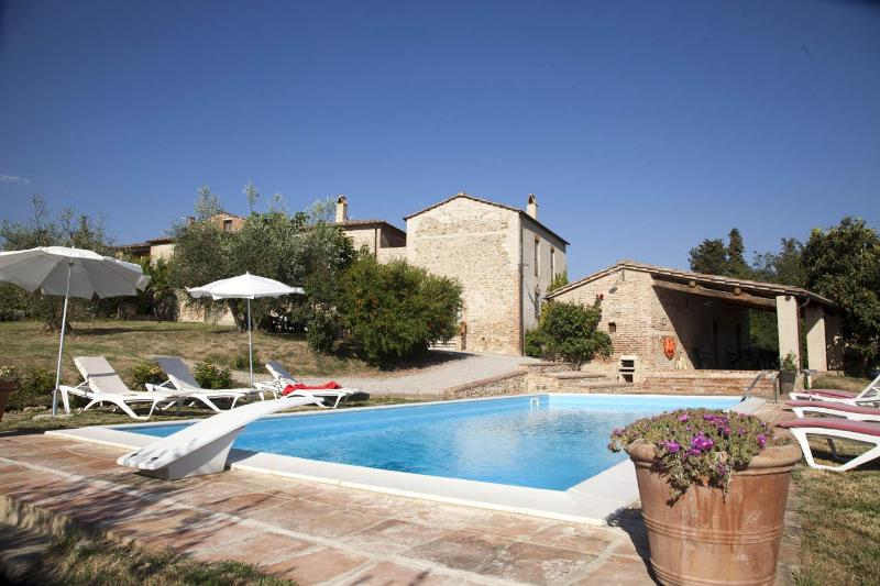 The house from the pool - 5 BDR villa, pool,WiFi,AC in Siena countryside - Siena - rentals