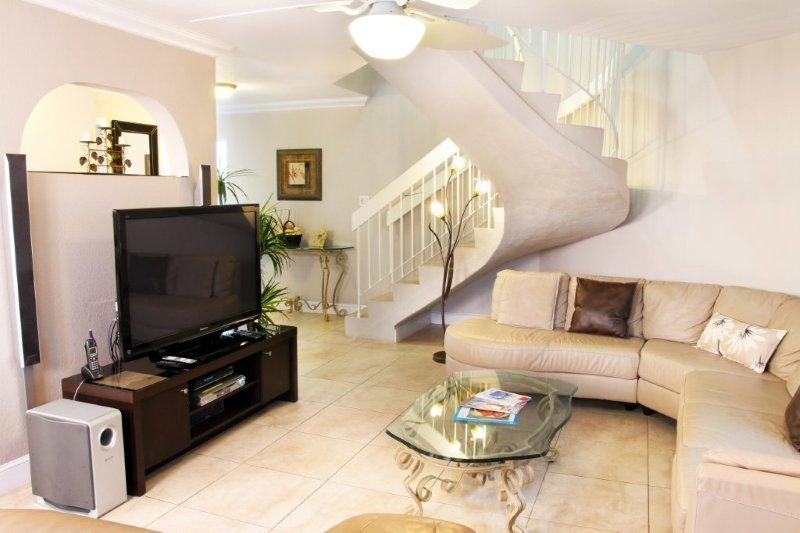 Gorgeous View of Living Room with HDTV - Cayman Reef Resort 56 - Luxury on Seven Mile Beach - Seven Mile Beach - rentals