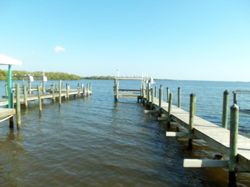 """View of dock from house  - THE RHINESTONE FISHERMAN  """"Bay  Is Your Backyard"""" - Matlacha - rentals"""