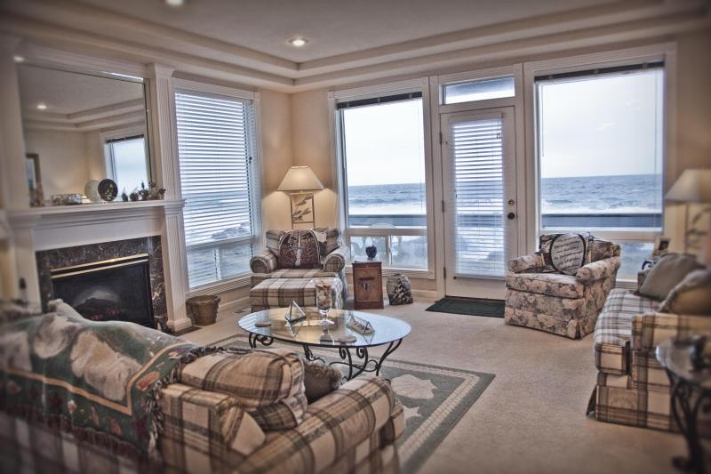 Living Room #1 - Ocean Front Home with Hot Tub Sleeps 16! - Yachats - rentals
