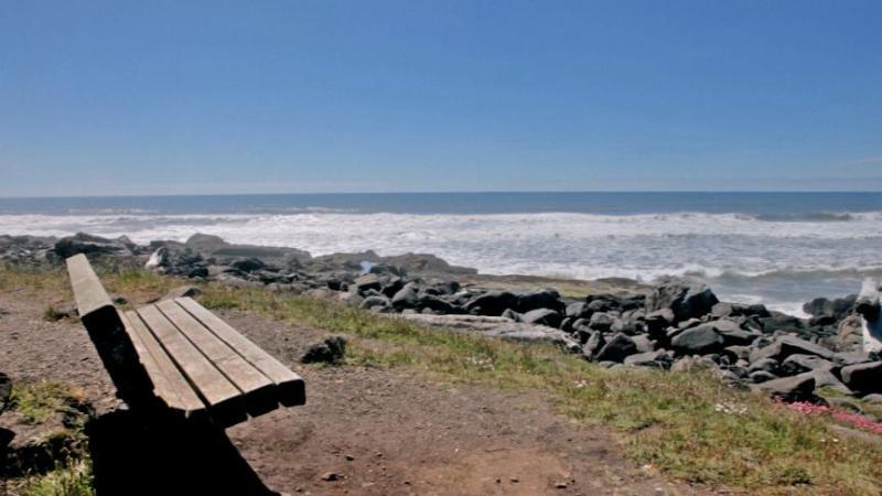 Our Ocean Front Bench.  Sit and Watch the Waves and Whales!  - Luxurious Ocean Front Home with Hot Tub! - Yachats - rentals
